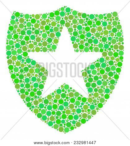 Guard Mosaic Of Dots In Variable Sizes And Fresh Green Color Tones. Vector Round Elements Are United