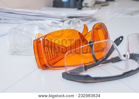 Collection Of Safety Glasses For Patient Other, Health Equipment To Prevent Cross Infection. Dentist