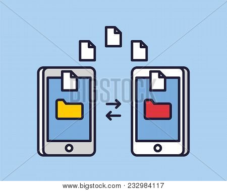 Data Image File Transfer Between Device Smartphone. File Transfer Copy Files Data Sheet Exchange Con
