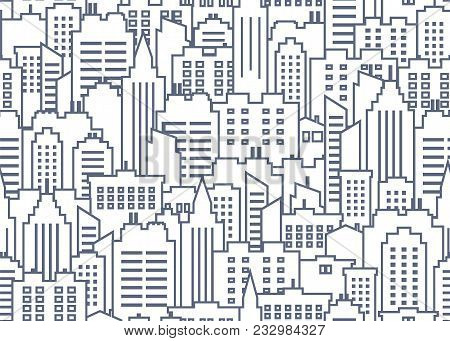 City Scape Seamless Pattern. Thin Line City Background. Downtown Landscape With High Skyscrapers. Pa