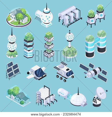 Space Colonization Terraforming Isometric Icons Set With Isolated Images Of Rover Vehicles Satellite
