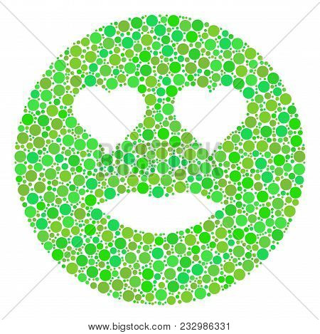 Lady Love Smiley Collage Of Filled Circles In Different Sizes And Eco Green Shades. Vector Filled Ci