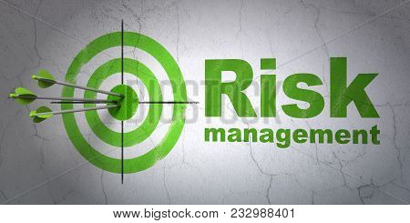 Success Finance Concept: Arrows Hitting The Center Of Target, Green Risk Management On Wall Backgrou