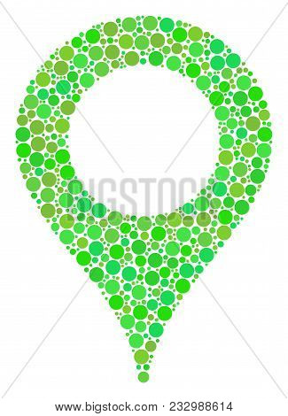 Map Marker Collage Of Dots In Different Sizes And Fresh Green Shades. Vector Circle Elements Are Com