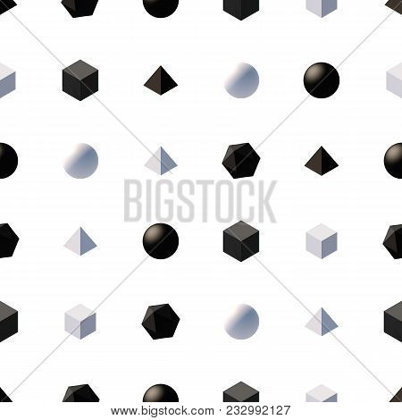 Seamless Pattern With 3d Primitives. Abstract Background With Isometric Cube, Ball, Octagon And Pyra
