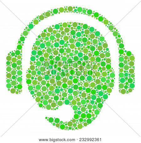 Operator Head Collage Of Dots In Various Sizes And Green Shades. Vector Circle Elements Are Composed
