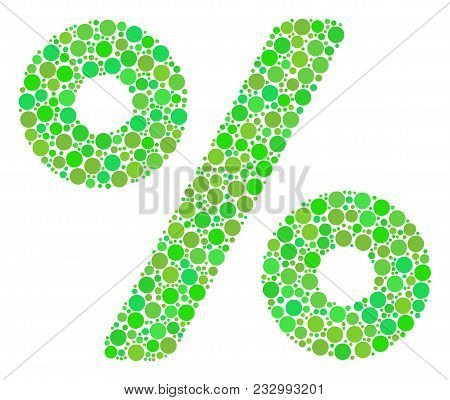 Percent Composition Of Dots In Variable Sizes And Eco Green Color Hues. Vector Dots Are United Into