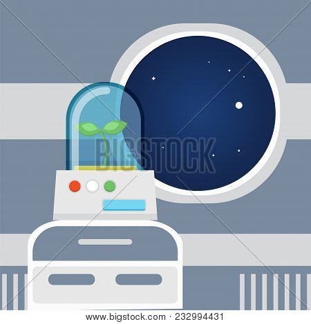 Experiment In A Spaceship Concept. Stock Vector Illustration Of Green Plant Growing In Outer Space I