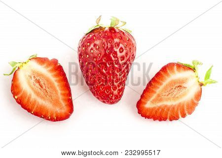 Strawberry One Whole One One Cut Isolated On White Background