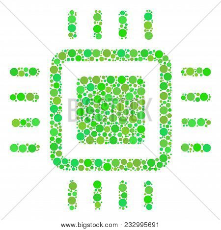 Processor Mosaic Of Filled Circles In Variable Sizes And Eco Green Color Tints. Vector Round Element
