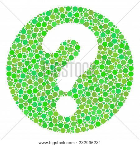 Query Mosaic Of Filled Circles In Different Sizes And Green Color Tints. Vector Filled Circles Are C