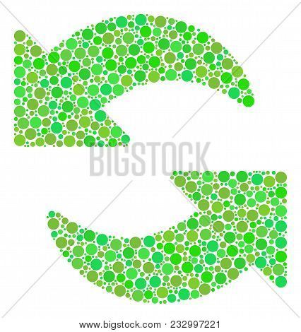 Refresh Collage Of Filled Circles In Different Sizes And Eco Green Color Tones. Vector Round Dots Ar