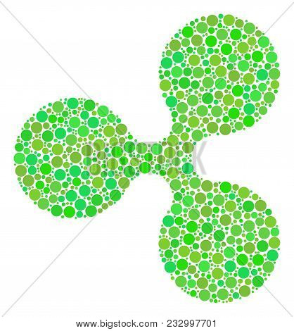 Ripple Currency Mosaic Of Circle Elements In Different Sizes And Ecological Green Shades. Vector Rou