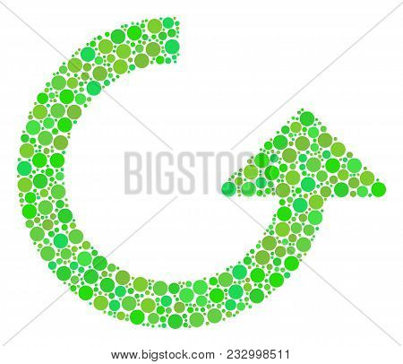 Rotate Composition Of Filled Circles In Variable Sizes And Fresh Green Color Tones. Vector Round Ele