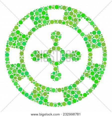 Roulette Casino Chip Collage Of Dots In Various Sizes And Fresh Green Shades. Vector Dots Are Groupe