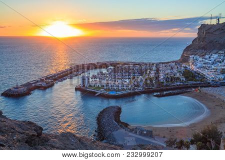 Aerial View Of Bay In Puerto De Mogan In Gran Canaria Island, During Sunset.