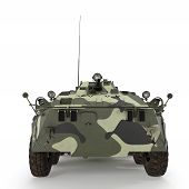 BTR-80 amphibious armoured personnel carrier on white background. Front view. 3D illustration poster
