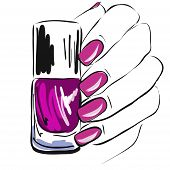 nail polish in the hand, well-groomed nails,pink nail polish, manicure, pedicure, gel-varnish, vector illustration poster