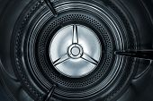 Interior view of a Washing machine / dryer with a smooth blue toning. poster