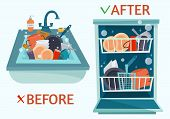 Sink dirty dishes and open dishwasher with clean dishes. Before and after. Flat cartoon style vector illustration. poster