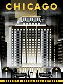 Night life in Chicago in 1930s, USA. Handmade drawing vector illustration. Art Deco style. poster