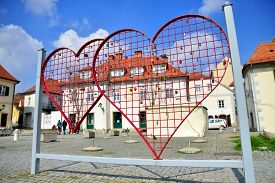 Heart Shaped Fence With Locks In Maribor In The North-east Part Of Slovenia