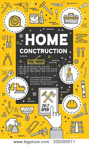 Home Construction Service. Vector Diy Tools, Thin Line Carpentry Symbols. Measure Tape And Hammer, H