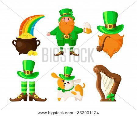 Saint Patricks Day Cartoon Leprechaun, Shamrock, Pot Of Gold Coins And Rainbow, Cute Dog Or Puppy In