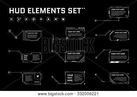 Hud Digital Futuristic Callout Title Set. Call Out Sci Fi Frame Bar Labels. Presentation Or Infograp