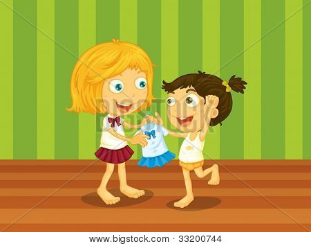 Illustration of sisters helping each other - EPS VECTOR format also available in my portfolio.