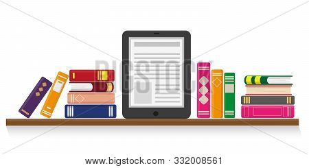 Flat Vector Illustration Of Online Reading, Learning Or Education Concept. Paper Books And E-book On