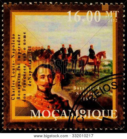 Moscow, Russia - November 06, 2019: Stamp Printed In Mozambique Shows Portrait Of Napoleon Iii (loui