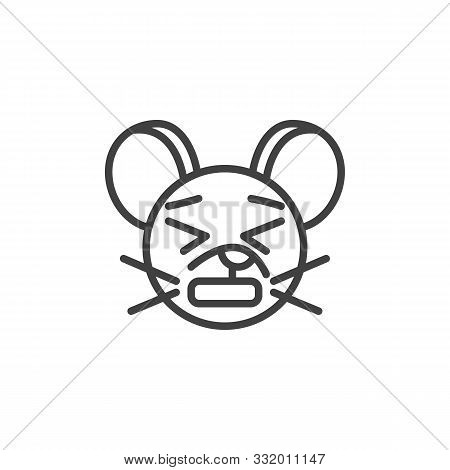 Anguished Rat Emoticon Line Icon. Linear Style Sign For Mobile Concept And Web Design. Upset Mouse F