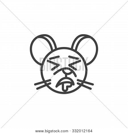 Drooling Rat Emoticon Line Icon. Linear Style Sign For Mobile Concept And Web Design. Sleeping Mouse