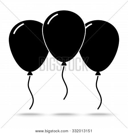 Silhouette Ballons  Icon Flat Design Style,. Happy Birthday, Holidays, Party Concept, Trendy Vector