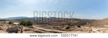 Rosh Haayin, Israel, October 31, 2019 : View From Tel Shilo To The Nearby Hills In Samaria Region In