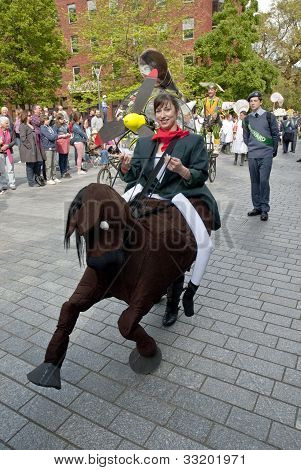 Drama students dressed as riders and horses