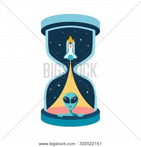The Time Of Intergalactic Friendship With Aliens. Huge Hourglass Or Sandglass With Rocket Shuttle An