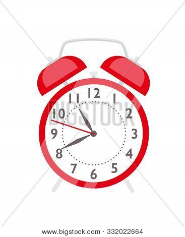 Red Alarm Clock Flat Vector Illustration. Retro Style Clock For Waking Up. Cartoon Vintage Timepiece