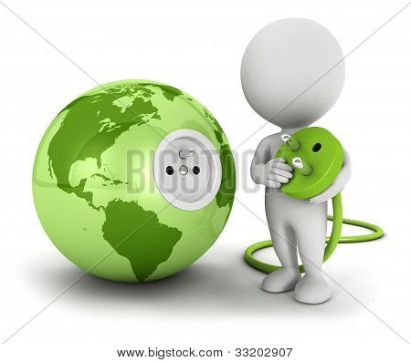 3d white people connects plug inside green earth