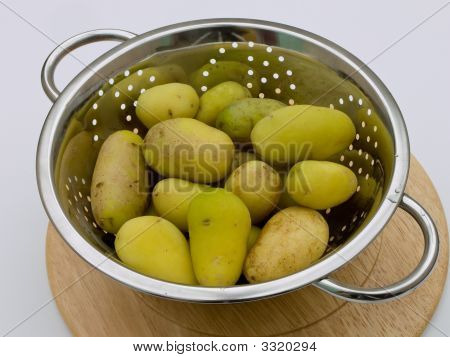 Boiled Potatoes In Colander.