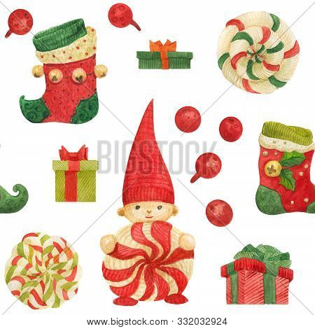 Christmas Elves Factory seamless watercolor pattern with stockings and lollipops and gifts on a white poster