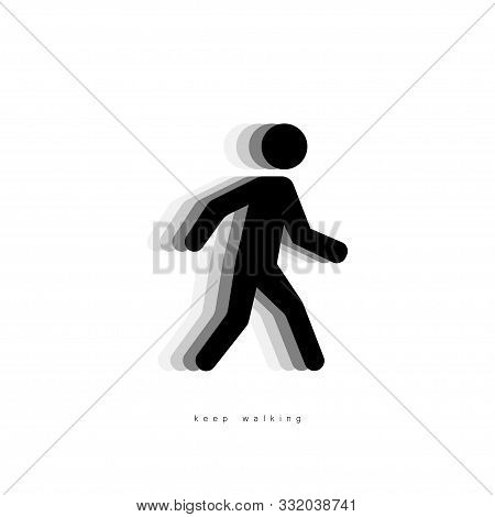 Walking Man Icon. People Walking Vector Icon With Shadow. Concept Keep Walking, Isolated On White Ba