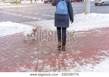 Man With A Dog Walks On A Slippery Sidewalk In Winter Near The Road, Sand And Salt Sprinkled