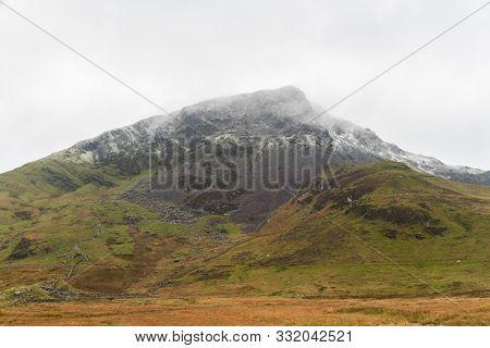 Beautiful Snowdonia Mountain With Snow, Mynydd Drws-y-coed, Rhyd Ddu, Snowdonia, North Wales, Gwyned