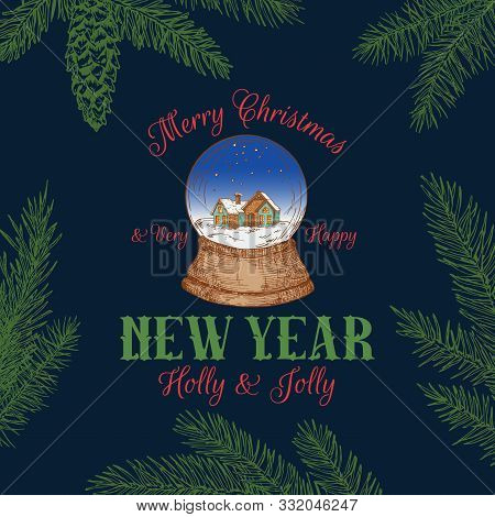 Merry Christmas Abstract Vector Retro Label, Sign Or Logo Template. Colorful Hand Drawn Snowball Wit