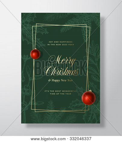 Christmas Abstract Vector Greeting Card Or Holiday Poster. Classy Green And Gold Colors And Typograp