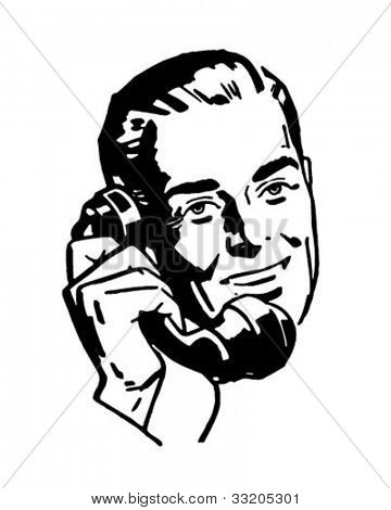 Fellow On The Phone - Retro Clipart Illustration