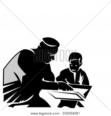 Silhoutte Of A Father Teaching His Son, Flat Design. Vector Illustration On White Background