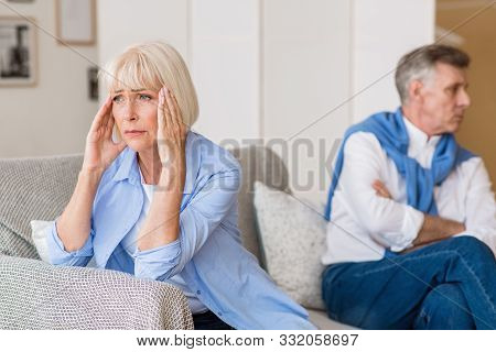 Divorce And Separation. Senior Couple Having Problems In Relationships, Sitting Back To Back